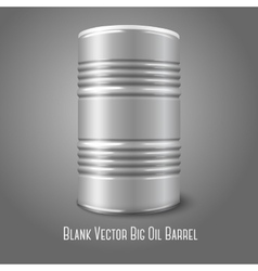 Blank big oil barrel isolated on gray With place vector image