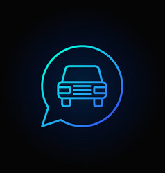 blue car in speech bubble icon vector image