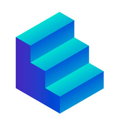 Blue stairs icon isometric style vector