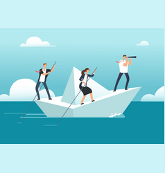 Business team with leader sailing on paper boat in vector