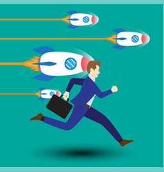 businessman running along with dashing rockets vector image