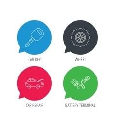 Car key wheel and repair service icons vector