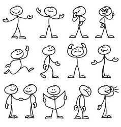 Cartoon hand drawn stick man in different poses vector