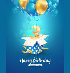 Celebrating three years birthday 3d vector