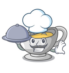 Chef with food cartoon sauce boat with turkey vector
