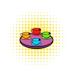 Coffee-cup carousel icon comics style vector image