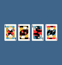 collection various king playing cards vector image