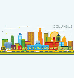 Columbus ohio city skyline with color buildings vector