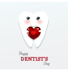 Cute greeting card happy dentist day vector