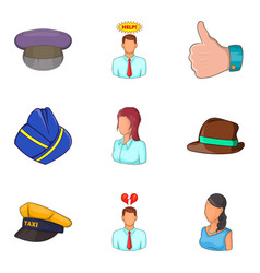 Description of personnel icons set cartoon style vector