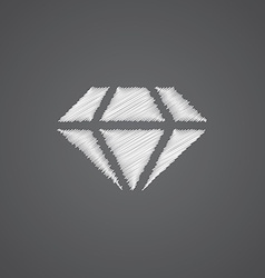 diamond sketch logo doodle icon vector image
