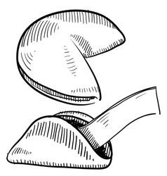 doodle fortune cookies vector image
