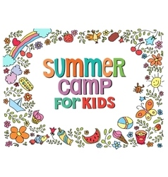 doodle summer with text vector image