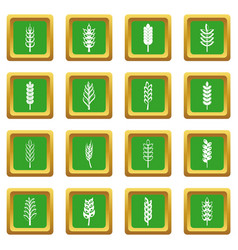 Ear corn icons set green vector