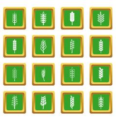 Ear corn icons set green vector