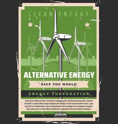 Ecology alternative energy windmills vector