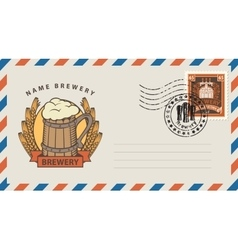 Envelope with glass of beer vector