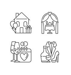 Family celebration linear icons set vector