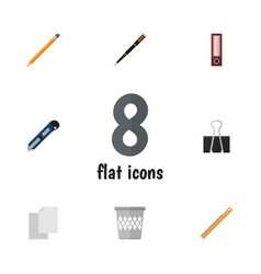 Flat icon tool set of paper clip trashcan sheets vector