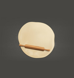 flattening dough with rolling pin realistic vector image
