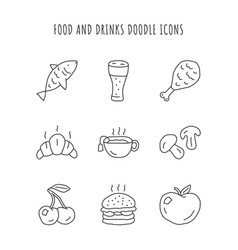 food and drinks linear icons set burger chicken vector image