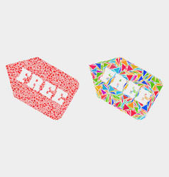 Free tag mosaic icon triangle items vector