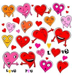 Funny cartoon hearts vector
