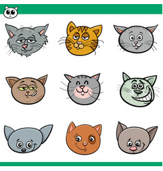 Funny cats heads set cartoon vector