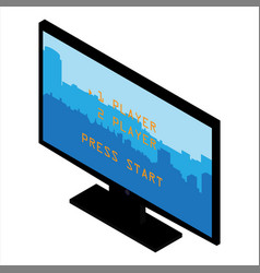 game console monitor press start isolated on vector image