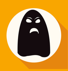 ghost icon on white circle with a long shadow vector image