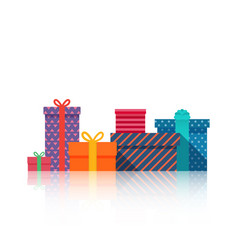 gifts boxes beautiful present box with bow gift vector image