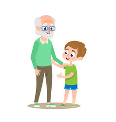 grandfather with grandson smiling flat cartoon vector image