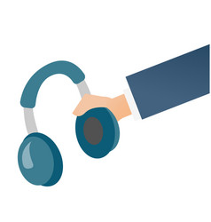 hand holding headphone cartoon vector image