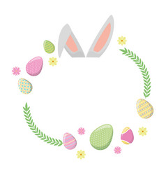 happy easter ears flowers eggs vector image