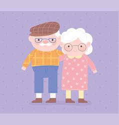 Happy grandparents day granny and grandpa hugged vector