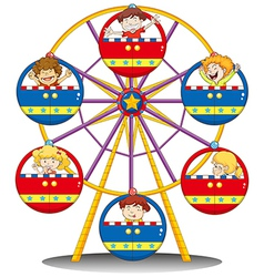 Happy kids riding the ferris wheel vector image