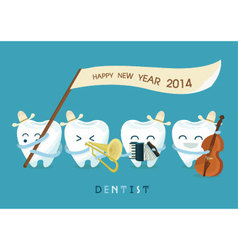 Happy new year dentist vector image