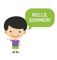 hello summer cartoon boy with hands up vector image