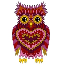 in zentangle style with owl vector image vector image