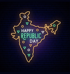 india republic day neon map neon sign vector image