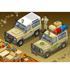 Isometric Safari Jeep in Front View vector image