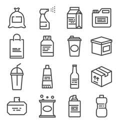 Line package icons set bag bottle spray gallon vector