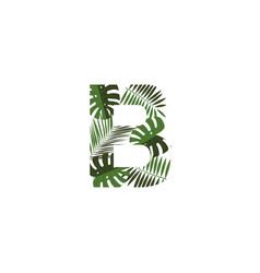 logo letter b tropical leaves vector image