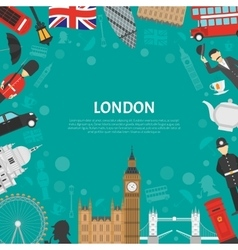 London City Frame Background Flat Poster vector image