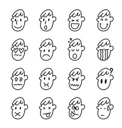 man face icon set on white background vector image