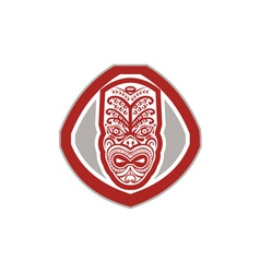 Maori mask face front shield retro vector