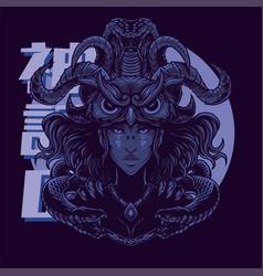 Medusa with owl head mascot vector