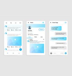 messenger app templates social account smartphone vector image