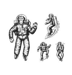Monkey astronaut riding skateboard and snowboard vector
