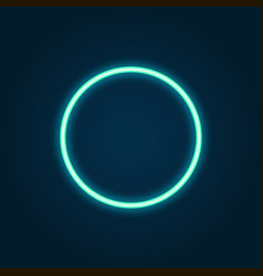 neon circle bright blue shining light background vector image
